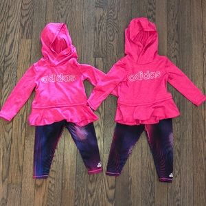 Adidas pullover and leggings 12 months girl TWINS